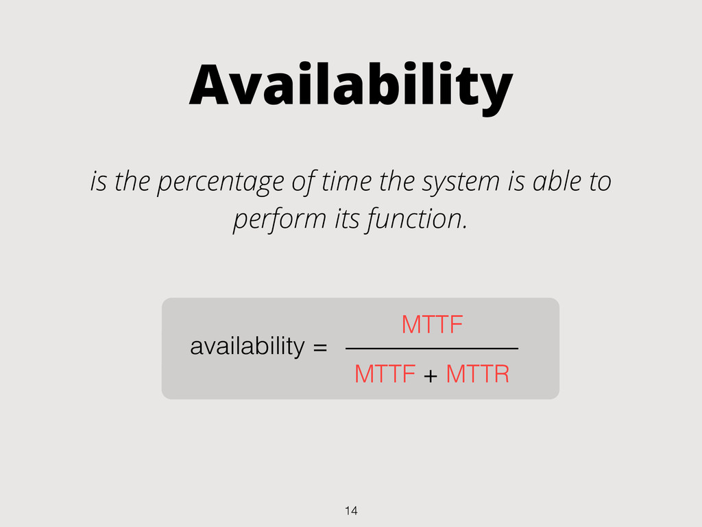 Availability is the percentage of time the syst...