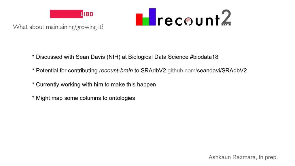 * Discussed with Sean Davis (NIH) at Biological...