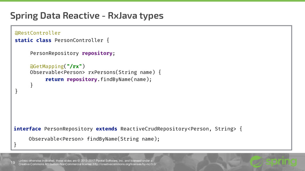 Spring Data Reactive - RxJava types 19 Unless o...