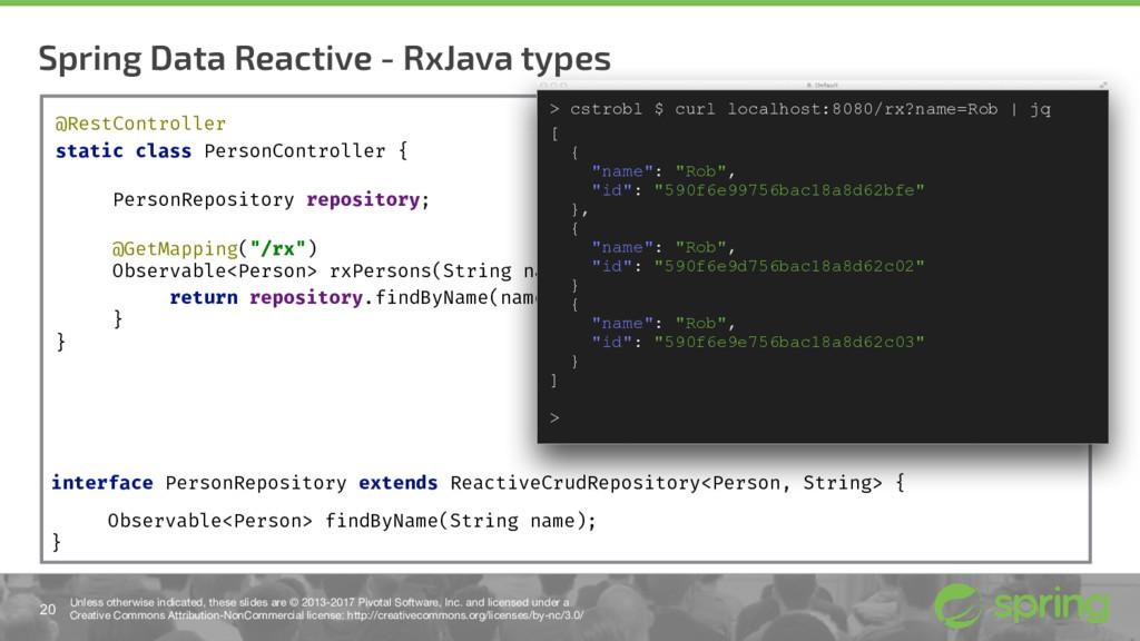 Spring Data Reactive - RxJava types 20 Unless o...