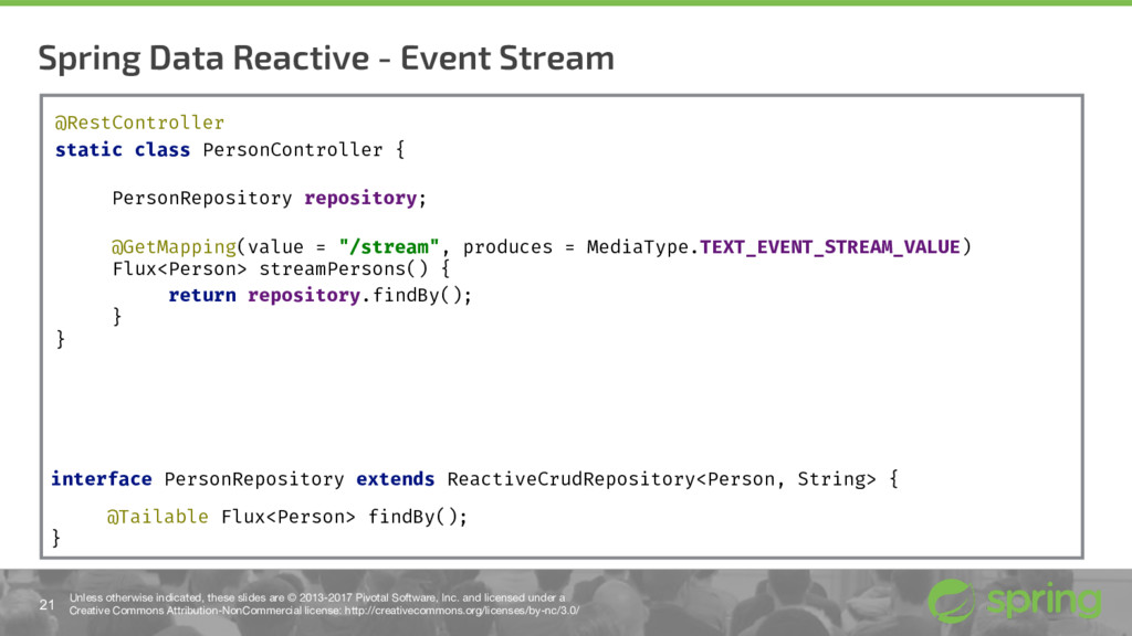 Spring Data Reactive - Event Stream 21 Unless o...
