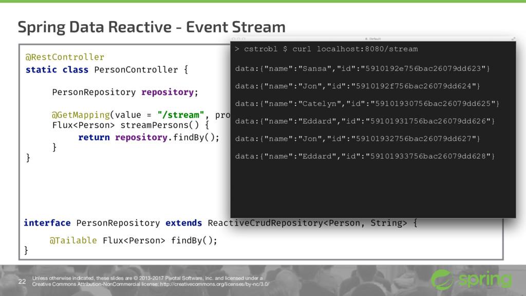 Spring Data Reactive - Event Stream 22 Unless o...