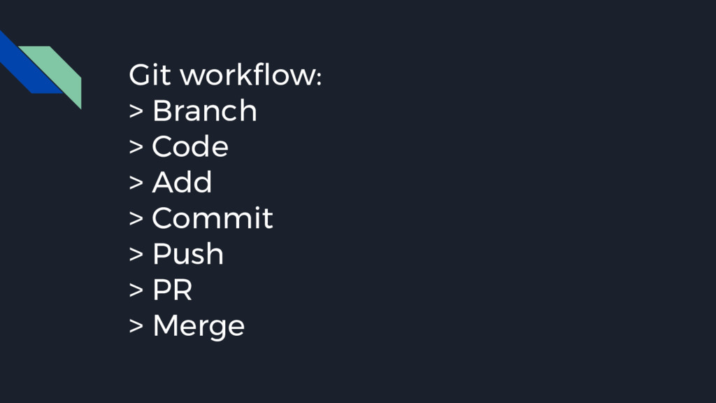 Git workflow: > Branch > Code > Add > Commit > ...
