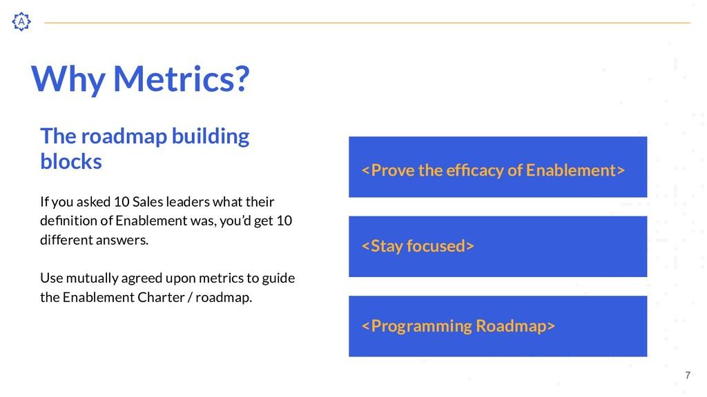 Why Metrics? The roadmap building blocks If you...