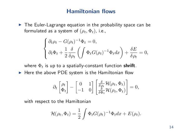 Hamiltonian flows The Euler-Lagrange equation in...