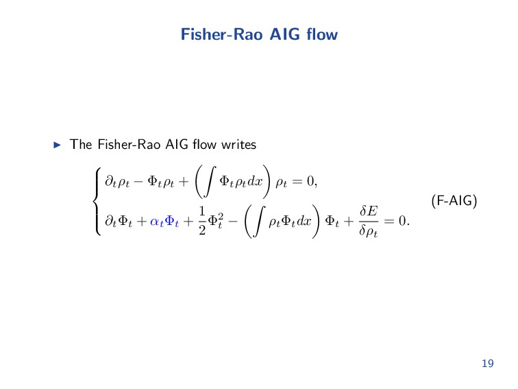 Fisher-Rao AIG flow The Fisher-Rao AIG flow write...