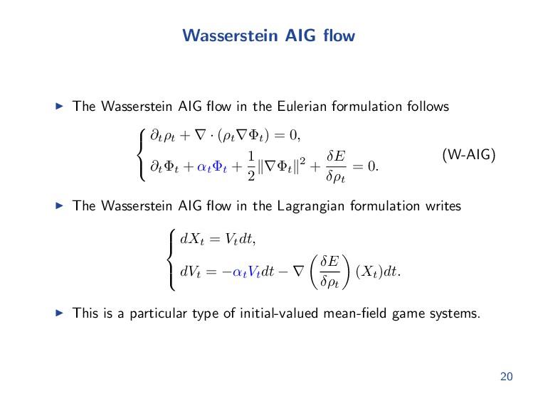 Wasserstein AIG flow The Wasserstein AIG flow in ...