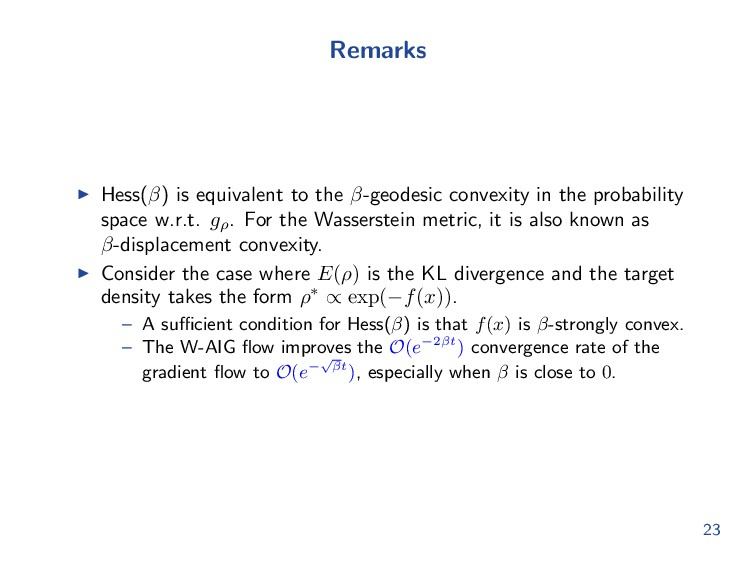Remarks Hess(β) is equivalent to the β-geodesic...