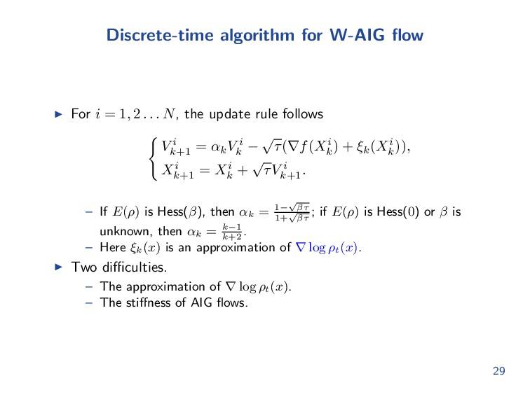 Discrete-time algorithm for W-AIG flow For i = 1...