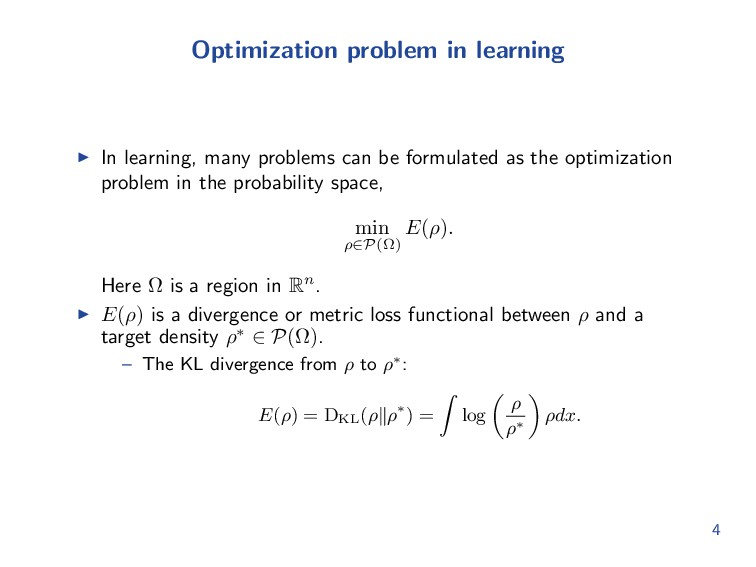 Optimization problem in learning In learning, m...