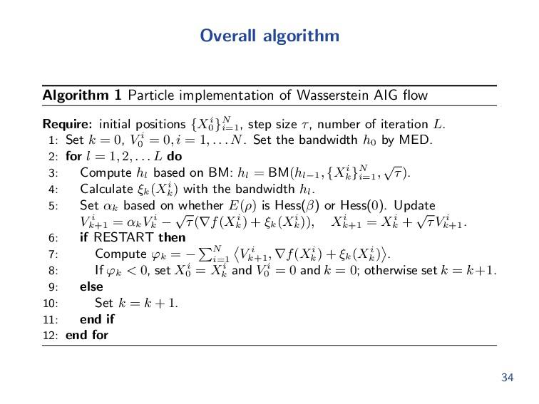 Overall algorithm Algorithm 1 Particle implemen...
