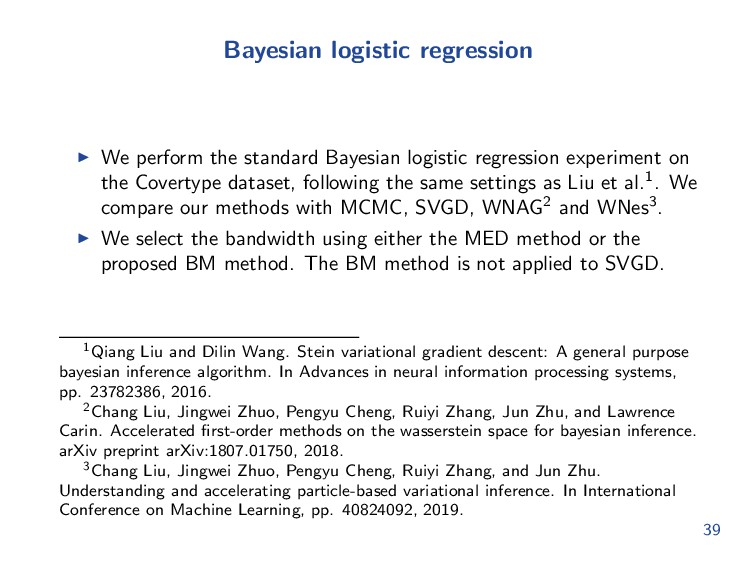 Bayesian logistic regression We perform the sta...