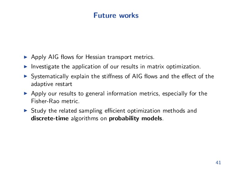 Future works Apply AIG flows for Hessian transpo...