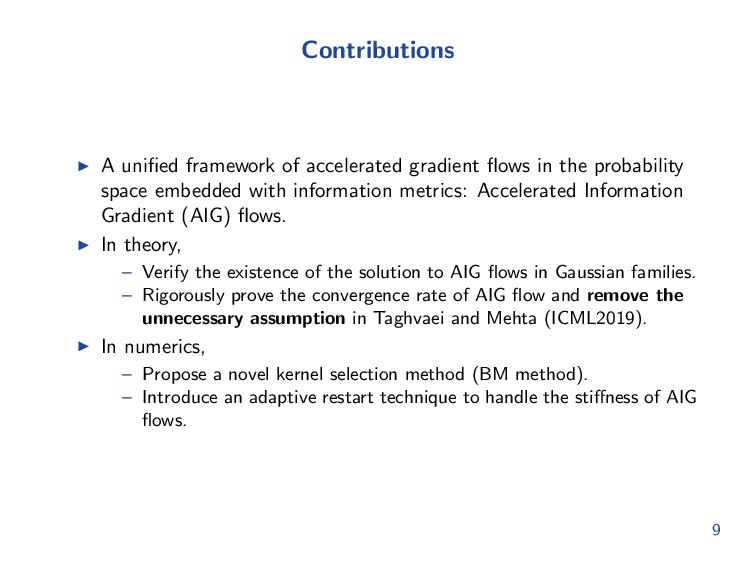 Contributions A unified framework of accelerated...