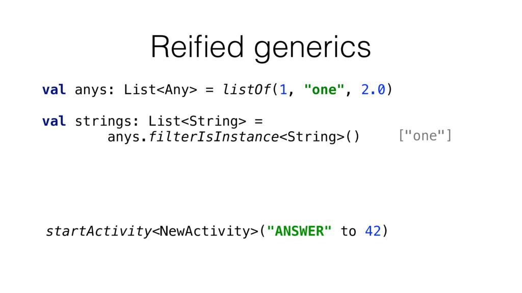 "Reified generics startActivity<NewActivity>(""ANS..."