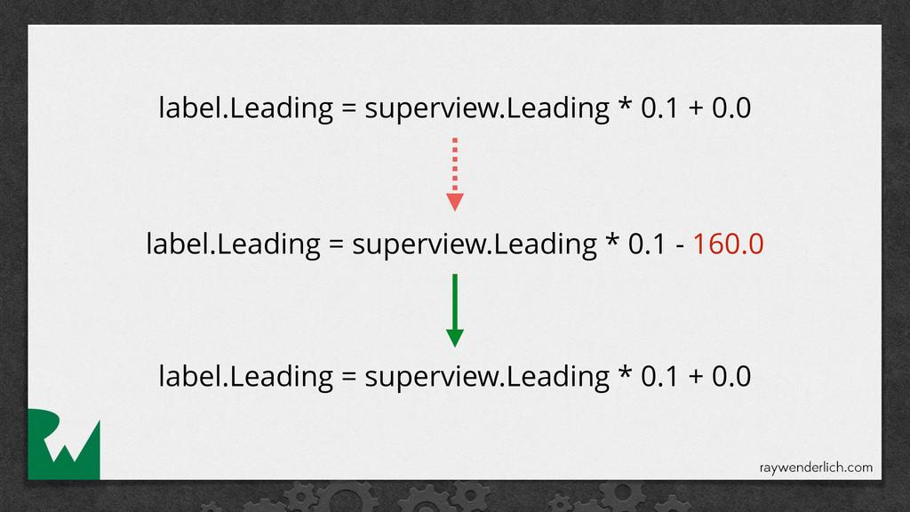 label.Leading = superview.Leading * 0.1 + 0.0 l...