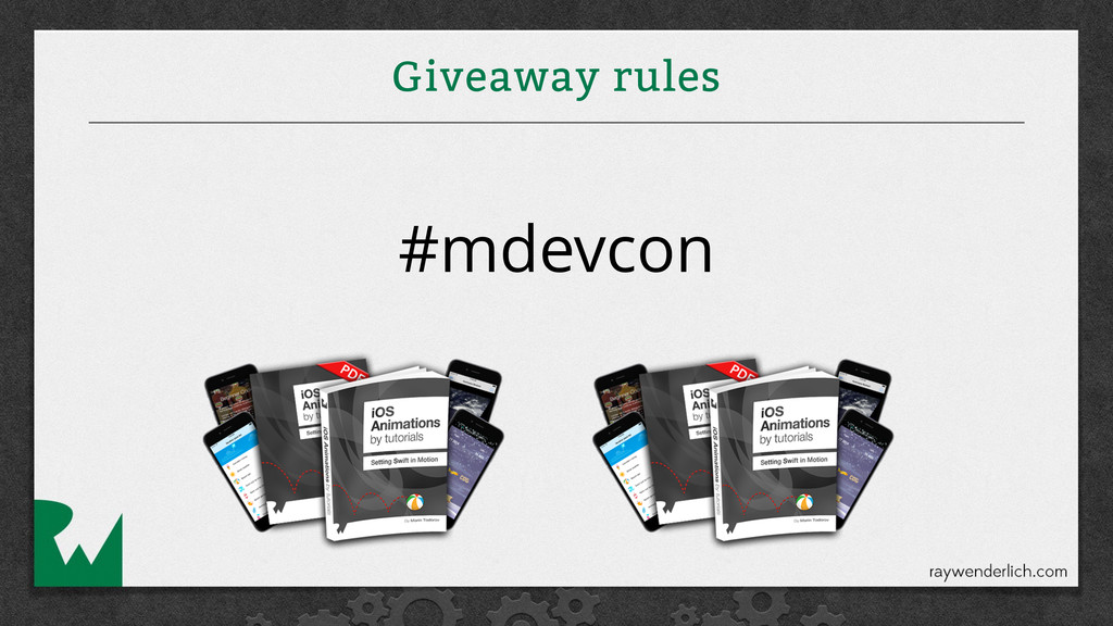 Giveaway rules #mdevcon