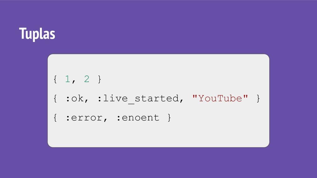 "Tuplas { 1, 2 } { :ok, :live_started, ""YouTube""..."