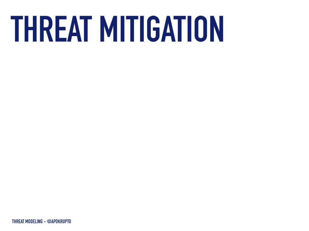 THREAT MITIGATION THREAT MODELING - @APOKRUPTO