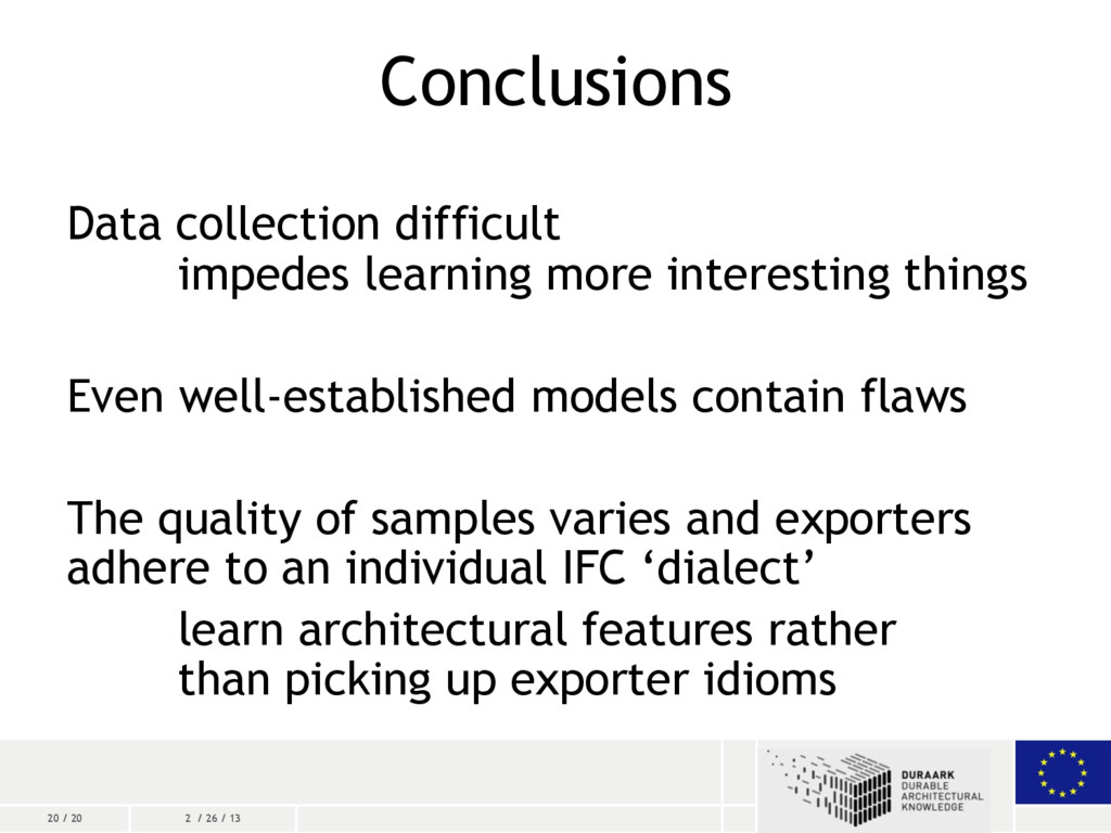 20 / 20 2 / 26 / 13 Conclusions Data collection...