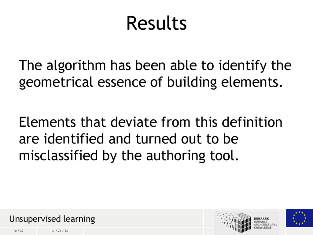 10 / 20 2 / 26 / 13 Results The algorithm has b...