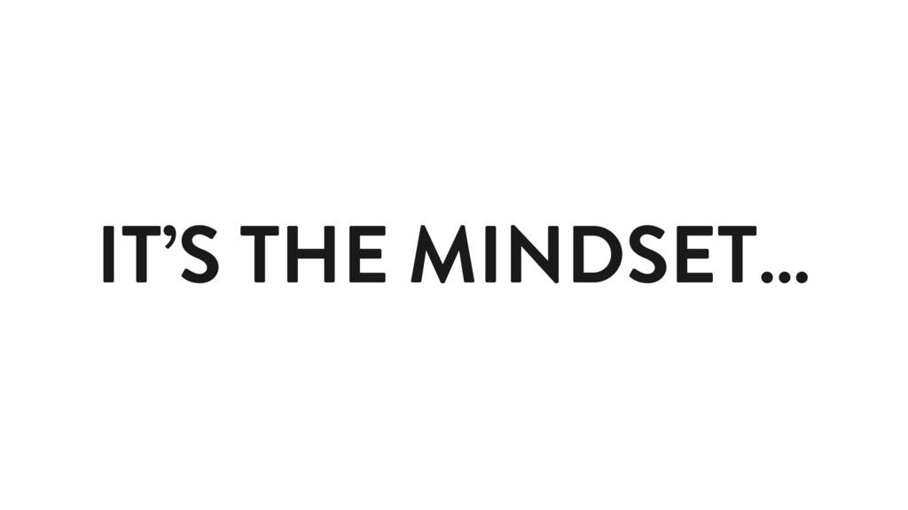 IT'S THE MINDSET…