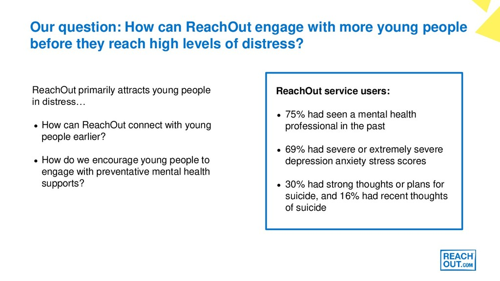 Our question: How can ReachOut engage with more...