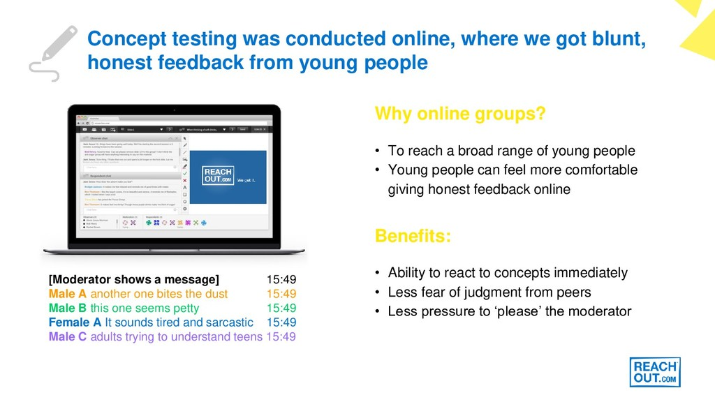 Concept testing was conducted online, where we ...