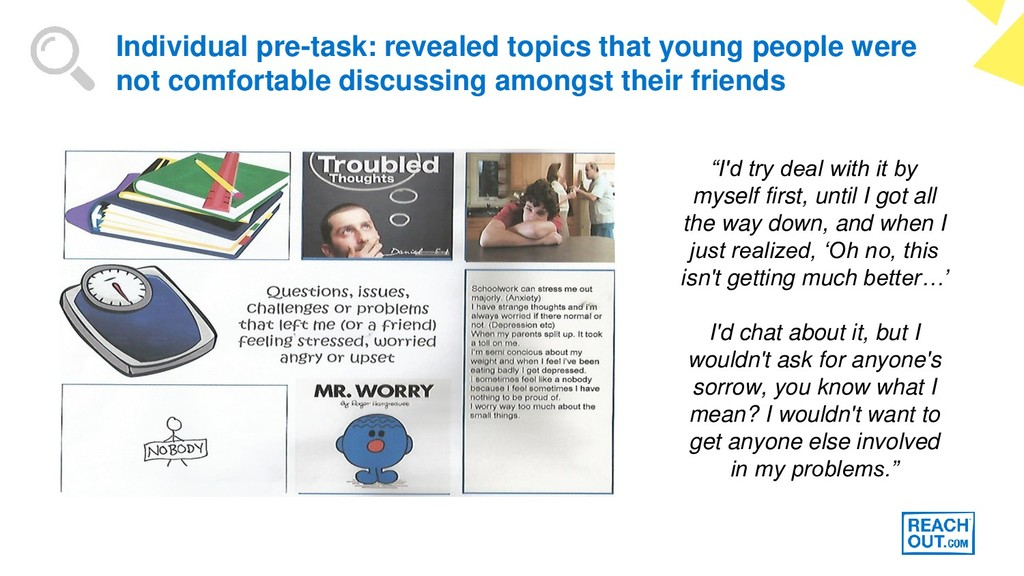 Individual pre-task: revealed topics that young...