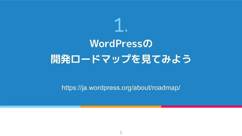 1. WordPressの 開発ロードマップを見てみよう https://ja.wordpre...