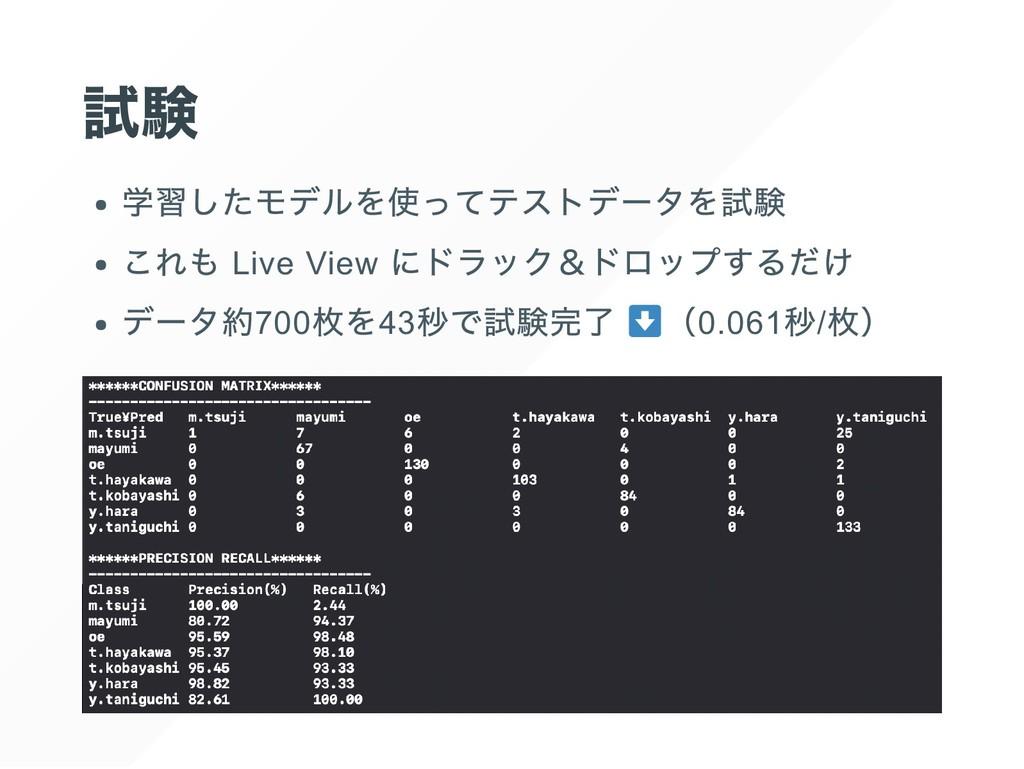 試験 学習したモデルを使ってテストデータを試験 これも Live View にドラック&ドロッ...