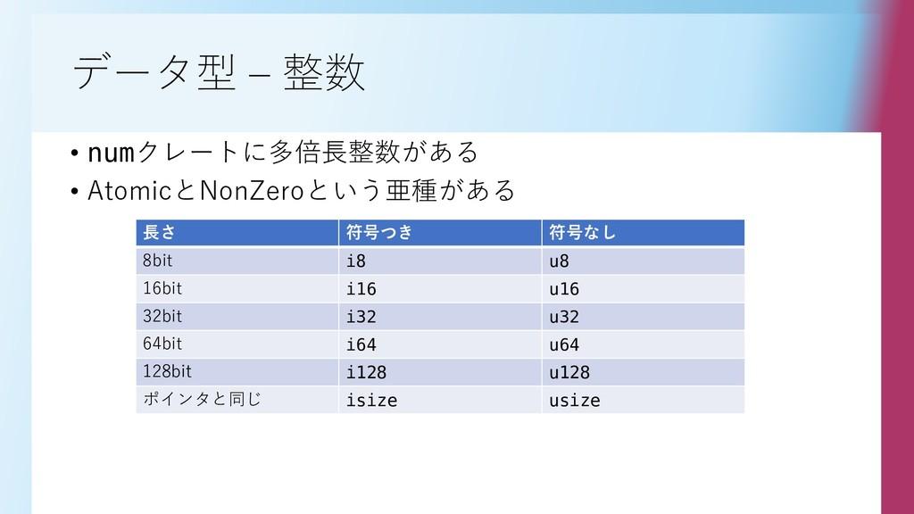 データ型 – 整数 • numクレートに多倍長整数がある • AtomicとNonZeroとい...