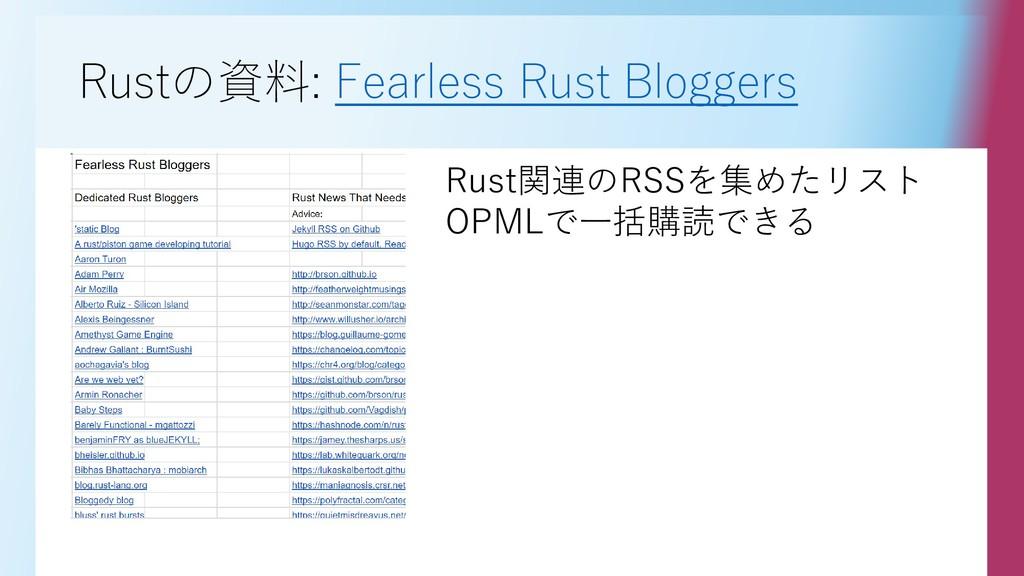 Rustの資料: Fearless Rust Bloggers Rust関連のRSSを集めたリ...