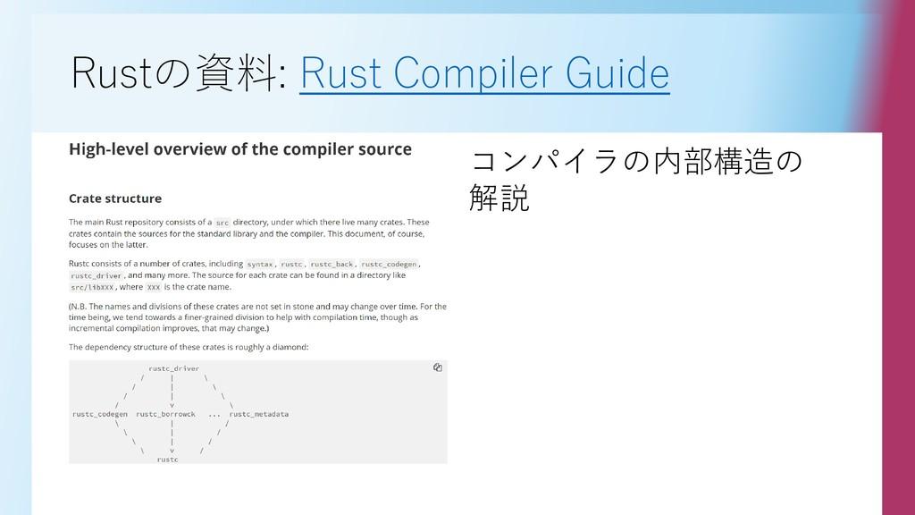Rustの資料: Rust Compiler Guide コンパイラの内部構造の 解説