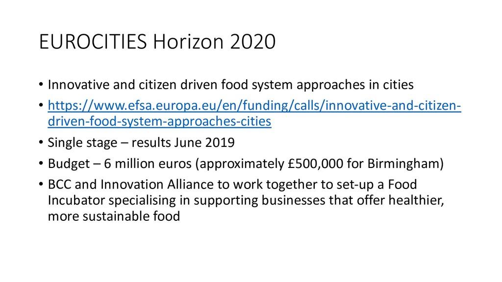 EUROCITIES Horizon 2020 • Innovative and citize...