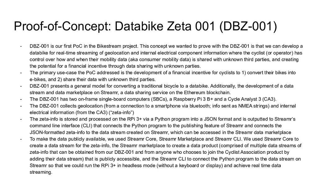 Proof-of-Concept: Databike Zeta 001 (DBZ-001) -...