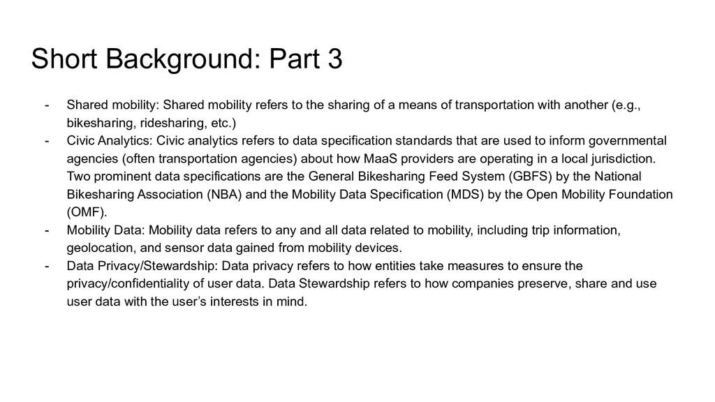 Short Background: Part 3 - Shared mobility: Sha...
