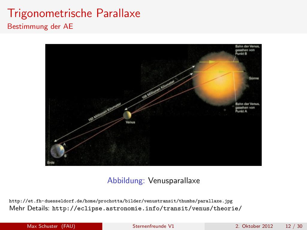 Trigonometrische Parallaxe Bestimmung der AE Ab...
