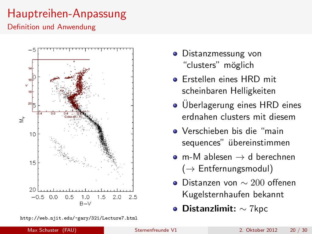 Hauptreihen-Anpassung Definition und Anwendung h...