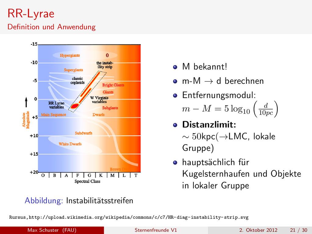RR-Lyrae Definition und Anwendung Abbildung: Ins...