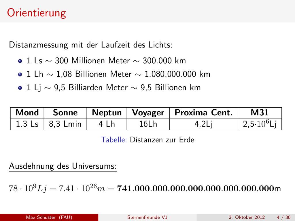 Orientierung Distanzmessung mit der Laufzeit de...