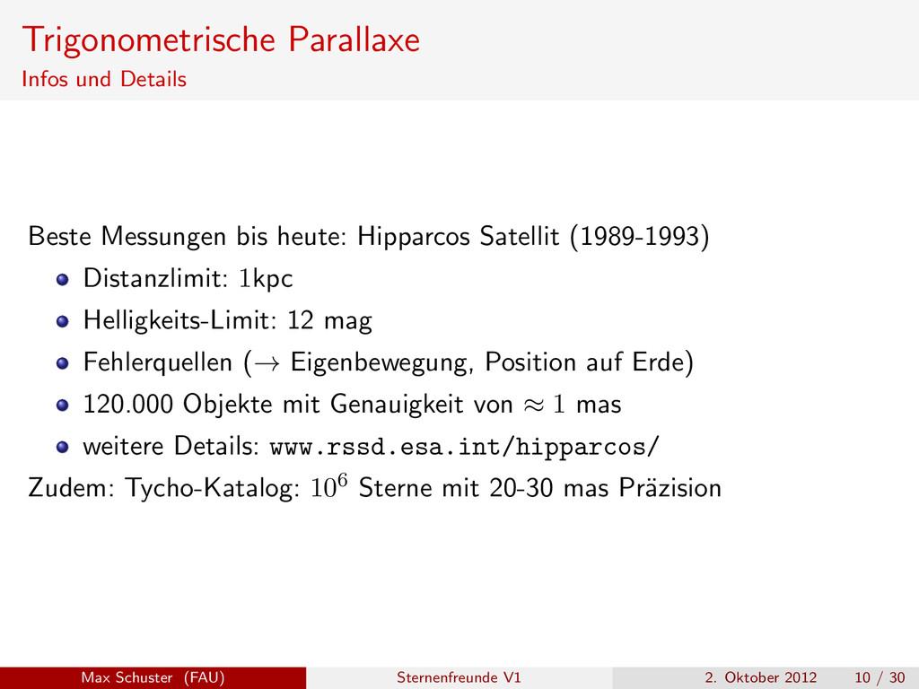 Trigonometrische Parallaxe Infos und Details Be...