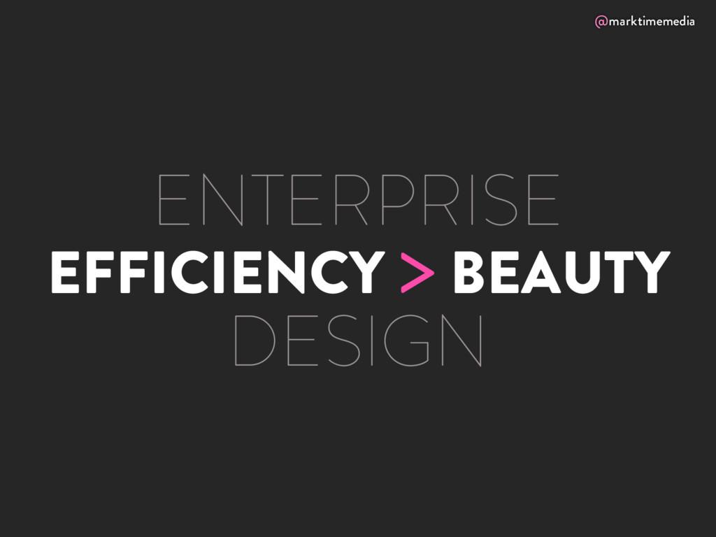 @marktimemedia EFFICIENCY > BEAUTY ENTERPRISE D...