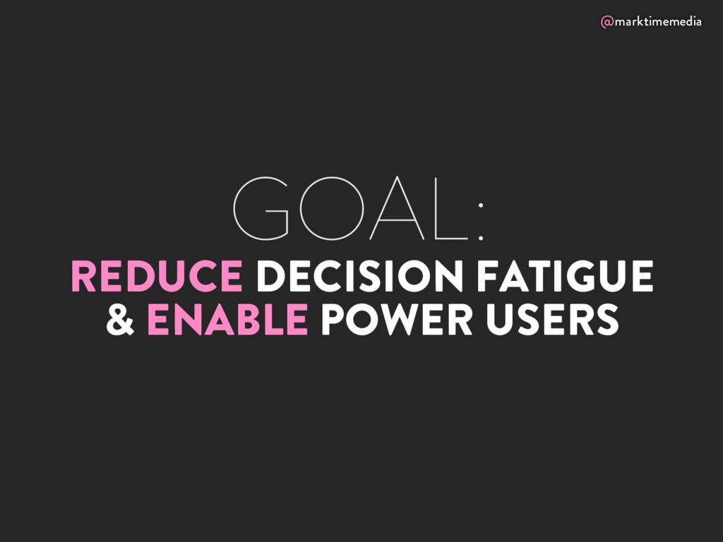 @marktimemedia GOAL: REDUCE DECISION FATIGUE & ...