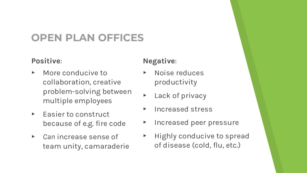 OPEN PLAN OFFICES Negative: ▸ Noise reduces pro...