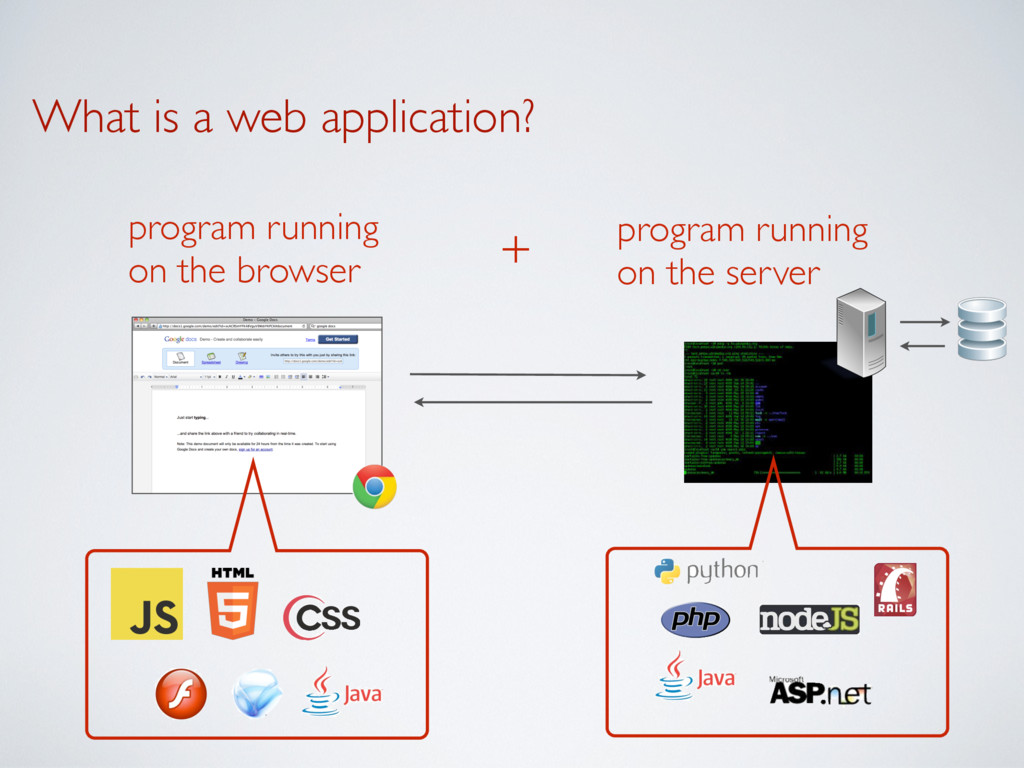 What is a web application? program running  on...