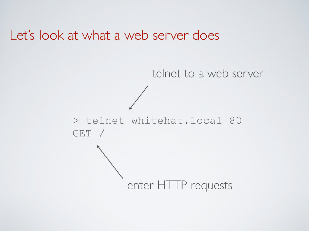 Let's look at what a web server does > telnet w...