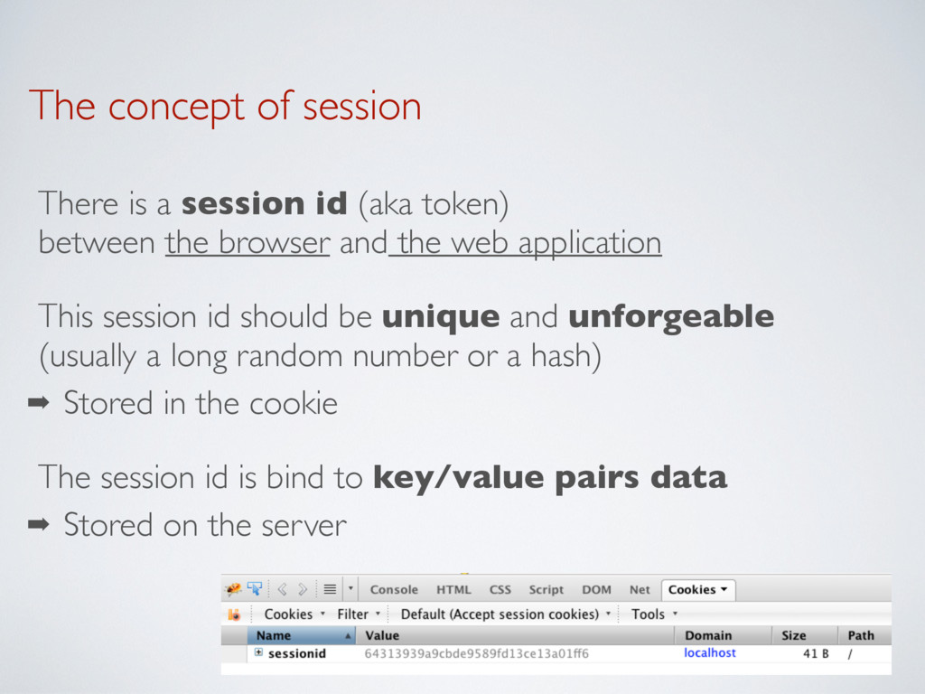 The concept of session There is a session id (a...