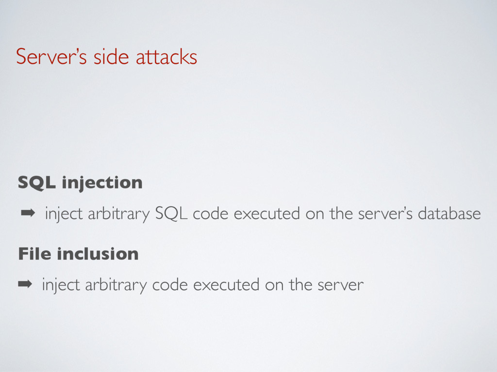 Server's side attacks SQL injection ➡ inject ar...