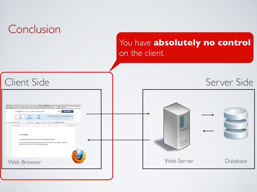 Conclusion Server Side Client Side Web Server D...